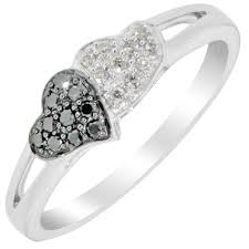 black diamond promise ring diamond promise ring in 10kt white gold with white and black