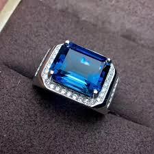 blue gem rings images Natural blue topaz gem ring s925 silver natural gemstone big jpg