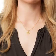 large monogram necklace large circle monogram necklace 14k