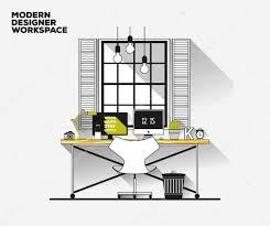 thin line flat design modern designer workplace vector loft