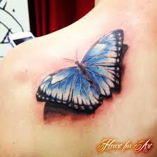 realistic 3d butterfly tattoo heart for art tattoo shop