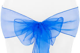 blue chair sashes organza sash royal blue at cv linens cv linens