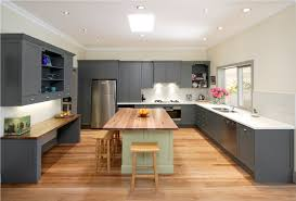 minimalist u shaped kitchen design with clean decor grey kitchen