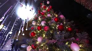 christmas tree with lights christmas tree decorated with lights toys at stock footage
