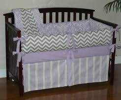 Lilac Damask Crib Bedding Lilac Osborne Damask Grey Chevron Custom Baby Crib Bedding