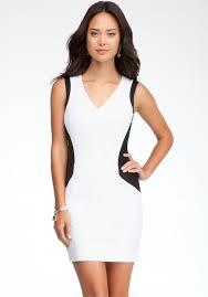 bebe geometric hourglass dress in white lyst
