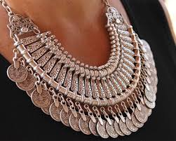 silver boho necklace images Bohemian statement coin choker necklace macs jewelry jpg