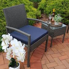 Patio Table Ls Sunnydaze Bita Wicker Rattan Patio Furniture Set Blue