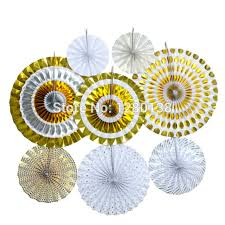 1set silver and gold glitter paper fans pinwheel backdrop candy