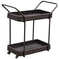 patio deluxe resin wicker serving bar cart with 2 wheels for party