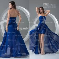 real sample royal blue colour hi lo chiffon strapless beading