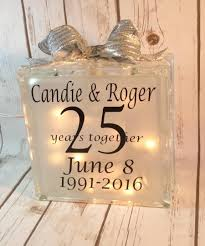 25th Wedding Anniversary Table Centerpieces by Anniversary Lighted Glass Block Wedding Table Centerpiece Gift