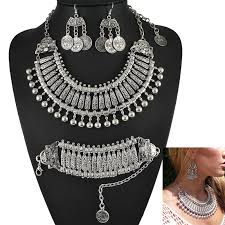 long silver statement necklace images Buy yumfeel antique silver bohemian style gypsy jpg