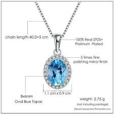 natural topaz necklace images Natural oval blue topaz platinum plated chain pendant necklace jpg