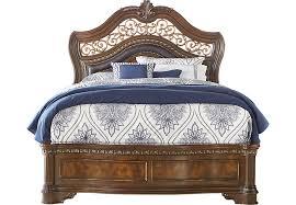 handly manor pecan 3 pc king bed beds dark wood