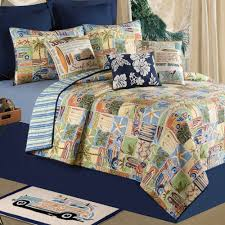 bedroom assorted colour sea shell pattern bedcover with blue
