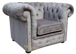 Low Back Armchair Chesterfield Low Back Club Armchair Perla Illusions Grey Velvet Fabric
