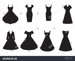cocktail party silhouette vintage dresses silhouette vector set black stock vector 364464440