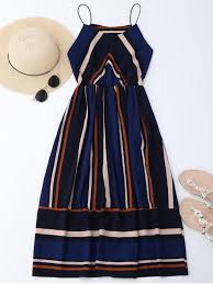 sun dress multi stripe cami midi sundress stripe summer dresses m zaful