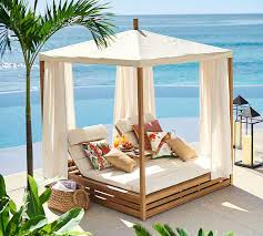 Resort Style Patio Furniture Discount Madera Teak Daybed Outdoor Furniture Home Decor