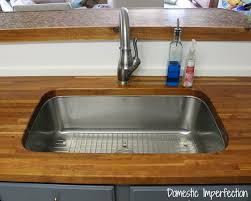 How To Replace A Drop In Kitchen Sink - my butcher block countertops two years later domestic imperfection
