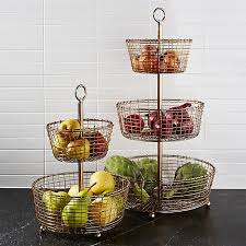 fruit baskets bendt tiered copper fruit baskets crate and barrel