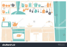 Interior Of Kitchen Cartoon Interior Kitchen Place Concept Flat Stock Vector 407348143