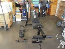 vitamaster power 700 weight bench with weights and bar for sale in