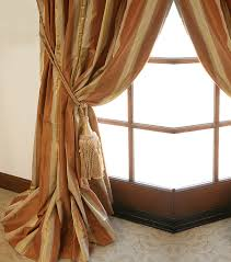 Gold Curtain Tassels Striped Silk Taffeta Drapery Drapestyle Com