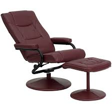 Recliner Chair With Ottoman Contemporary Burgundy Leather Recliner And Ottoman With Leather
