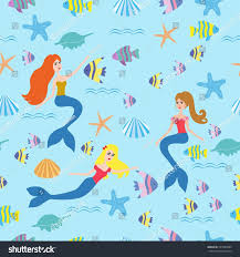blue seamless pattern color fish mermaid stock vector 537089944