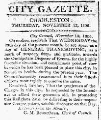 thanksgiving in early charleston charleston time machine