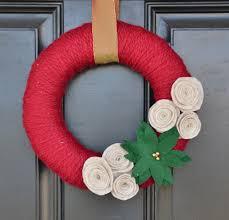 christmas yarn wreath poinsettia wreath handmade christmas