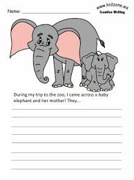printable animal lined paper elephant writing prompt