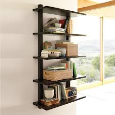 wall mounted bookcase tall modern display and wall shelves modern