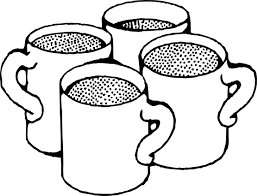 coffee mugs black white line art coloring book colouring sheet