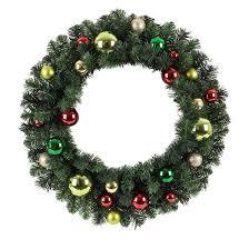 24 unlit green gold ornaments artificial pine