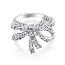 ribbon ring vintage style cz ribbon bow ring