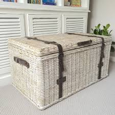 Wicker Trunk Coffee Table Large Whitewash Rattan Trunk With Leather Straps Humble Home