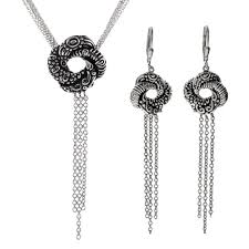 knot necklace silver images Love knot necklace and earring set jpg