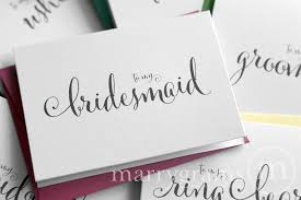 bridesmaid cards bridal party thank you card for wedding day whimsical style