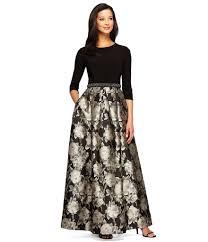 alex evenings 3 4 sleeve beaded waist floral ballgown in black lyst