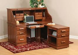Computer Desk With Return 62 Tradional Roll Top Desk With Pull Out Return Amish Country