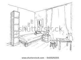 Drawing Of A Bed Childrens Room Corner Room Bed Next Stock Vector 640026205