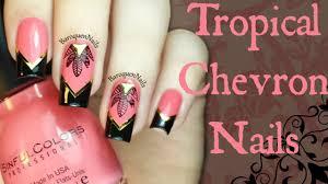 chevron tape nail art tutorial nail art tutorial tropical chevron nails stamping nail art