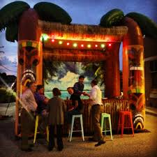 the inflatable tiki bar in a bank parking lot for a networking