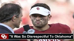 Ou Flag Baker Mayfield Reacts To Iowa State Planting Flag In Middle Of