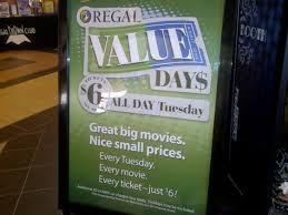 regal cinemas value days 6 movie tickets every tuesday spend