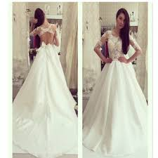 half lace wedding dress half sleeve a line scoop neck yarn lace open back bow knot
