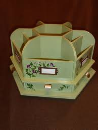Rotating Desk Organizer Painted Green Rotating Wood Craft Supplies Caddy Or Desk